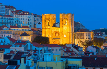 Fototapete -  Lisbon Cathedral twilight church Portugal