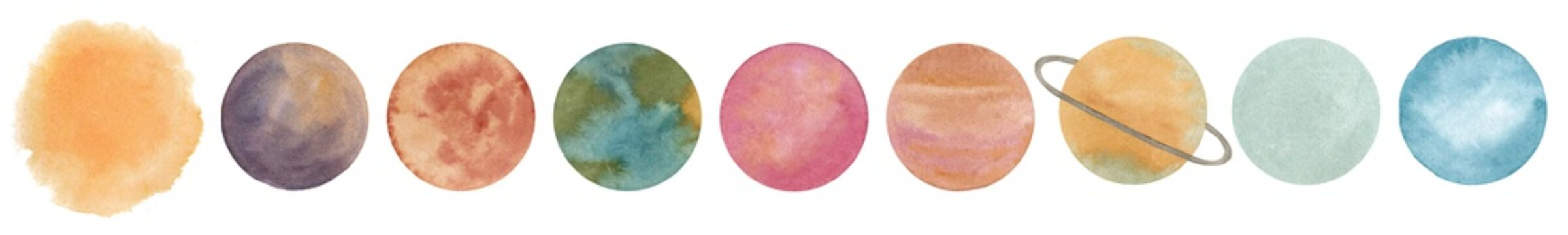 Solar system planets set. Space banner with sun, mercury, venus, earth, mars, jupiter, saturn, uranus, neptune. Watercolor hand drawn  abstract elements isolated on white background.