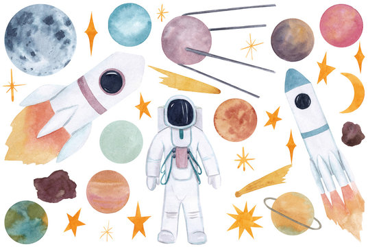 Big space set.  Watercolor hand drawn  illustrations with space objects: planets, stars, rocket, astronaut (spaceman), moon isolated on white background.