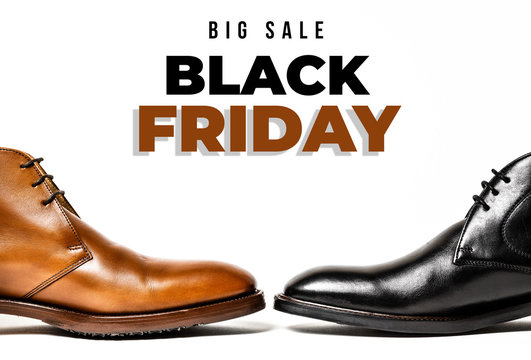 Male shoes. Men's fashion leather shoes on a white background. Black friday sale background