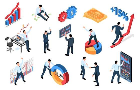Isometric Stock Market Icons