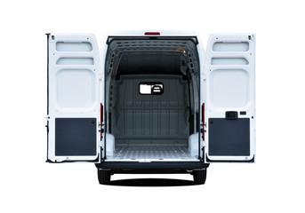 Empty van with rear doors opened