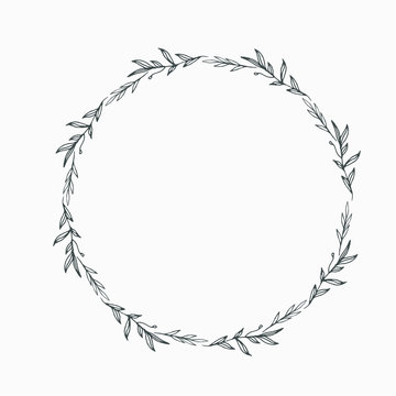 Elegant floral Decorative circle frame Border - For invitations, logos, graphic design. Wedding, celebration.