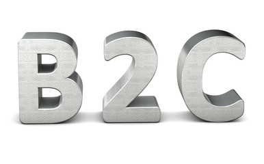 3d rendering text silver b2c