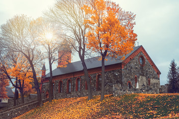 Foto op Aluminium Grijs Gothic catholic Church of the Nativity of the Virgin Mary on Castle Hill in autumn in Braslaw, Vitebsk region. Belarus.
