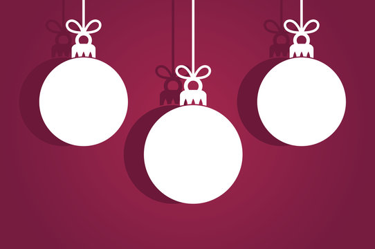 Christmas baubles ornaments, white tags on purple background