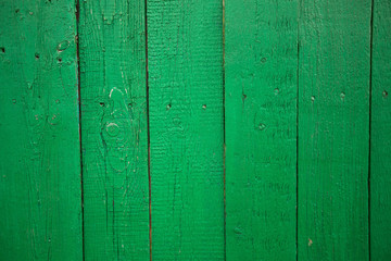 Texture of the wooden wall painted with green paint.