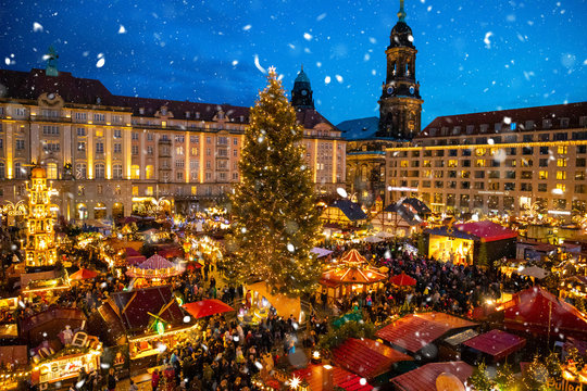 People visit Christmas Market Striezelmarkt in Dresden, Germany