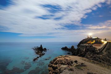 Night at Arrecife de Las Sirenas in Cabo de Gata, Spain