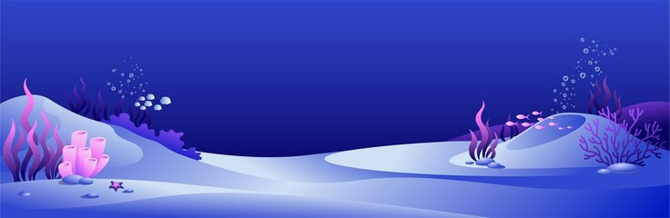 Fotorollo Dunkelblau Vector illustration of dark blue underwater landscape with fish, algae and bubbles