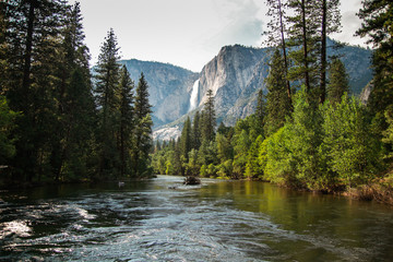 View of Yosemite Falls from the bridge above Merced River in Yosemite Valley National Park, California, USA. Near Landmarks: Half Dome, Glacier Point, El Capitan.