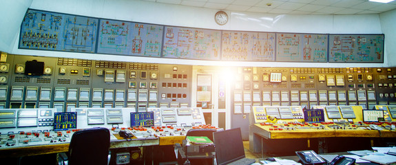 Industrial control panel at the energy plant. Energy and power generation. Selective focus closeup. Main safety board at power station.