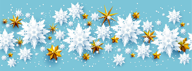 Fotomurales - Realistic paper cut snowflakes and stars