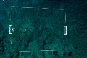 Aerial view of the Danče beach in Dubrovnik, Croatia
