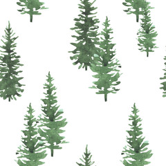 Christmas trees watercolor hand drawn seamless background texture. Holidays isolated illustration. Can be used for wallpaper, wrapping, web design, textile and other.