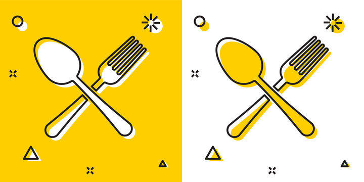 Black Crossed fork and spoon icon isolated on yellow and white background. Cooking utensil. Cutlery sign. Random dynamic shapes. Vector Illustration