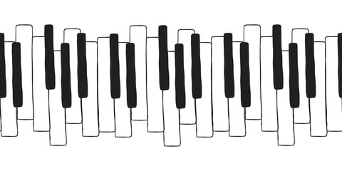 Chaotic Pianoforte musical grand piano octaves, sketch drawing. Vector seamless doodle pattern with hand drawn piano, harpsichord keys. Musical octave, notes in musical Western scale.