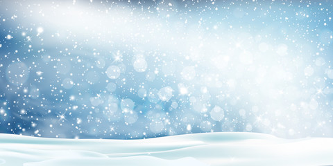 Fotomurales - Christmas, Snowy landscape Vector Background. Holiday winter landscape for Merry Christmas with Snowstorm Sky Effect, blizzard, falling snow, snowflakes. Christmas scene. Happy new year.