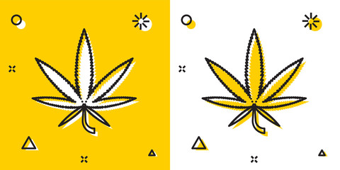 Black Medical marijuana or cannabis leaf icon isolated on yellow and white background. Hemp symbol. Random dynamic shapes. Vector Illustration