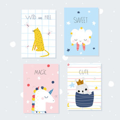 Cute childish cards with animals. Vector hand drawn illustration.