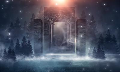 Dark street, brick wall, magic mirror, smoke, smog. Night landscape with a dark forest, night sky. Night scene in the open.