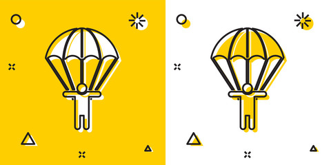 Black Parachute and silhouette person icon isolated on yellow and white background. Random dynamic shapes. Vector Illustration