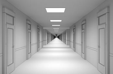 Fototapeta long corridor with doors, interior visualization, 3D illustration obraz