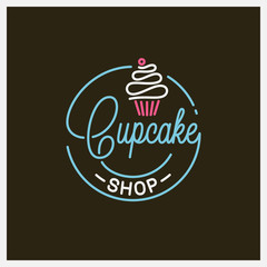 Cupcake shop logo. Round linear logo of cake store