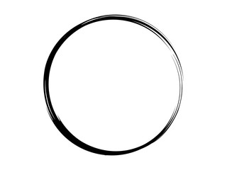 Thin grunge circle made for marking.Grunge oval shape made using art brush.Grunge artistic element made of black paint.