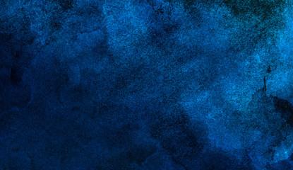 Modern creative deep dark glowing blue neon watercolor on black paper illustration. Lightning night...