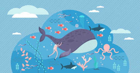 marine life vector illustration. Flat tiny sea or ocean fishes and animals.