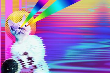 Pop art astronaut cat collage with rainbow rays, trendy contemporary concept design, vibrant vapor wave style background.