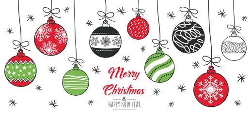 In de dag Bol Merry Christmas greeting card red and green with modern baubles. Vector illustration.