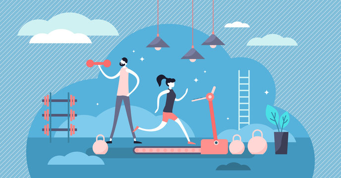 Daily life gym vector illustration. Flat tiny sport scene persons concept.