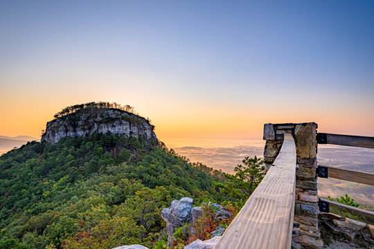 Sunrise view from Little Pinnacle Overlook at Pilot Mountain State Park, North Carolina,USA.
