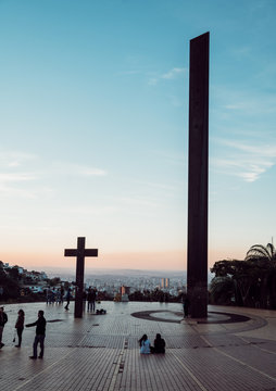 Catholic cross in Sunset in Praça do Papa, Belo Horizonte, Brazil