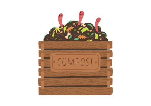Compost box with with funny worms.  Recycling concept. Flat vector illustration.