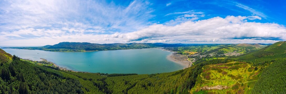aerial panoramic view of mourne mountain area ,Northern Ireland
