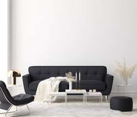 Minimalist modern living room interior background, 3D render