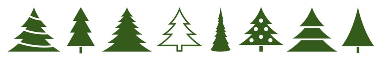 Christmas Tree Green Icon | Fir Tree Adornment Illustration | x-mas Symbol | Logo | Isolated Variations