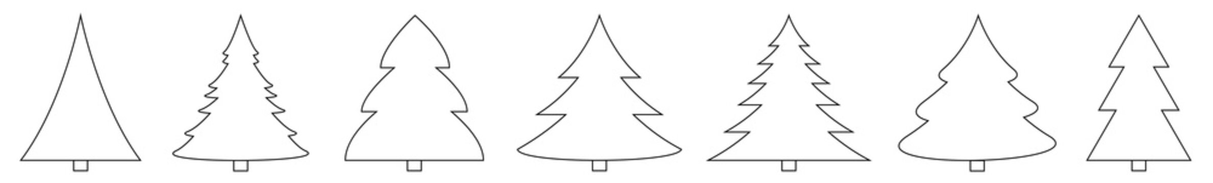 Christmas Tree Black Shape Icon | Fir Tree Illustration | x-mas Symbol | Logo | Isolated Variations