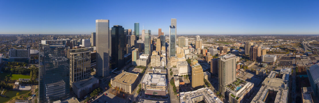 Houston modern city panorama aerial view including George Brown Convention Center, Marriott Marquis Houston and Minute Maid Park on Interstate Highway 69.