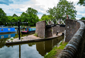 narrow boat barges stratford canal warwickshire, england uk