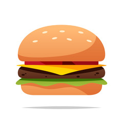 Fototapeta Cartoon burger vector isolated illustration obraz