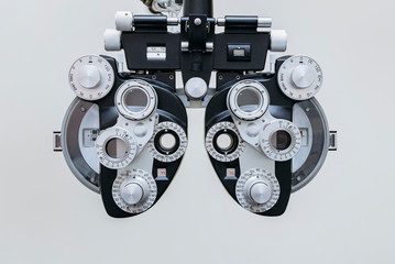 phoropter close up view of ophthalmology, optometry, and optician clinical testing machine equipment