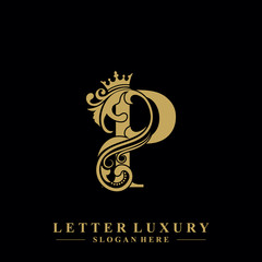 Initial letter P luxury beauty flourishes ornament with crown logo template.