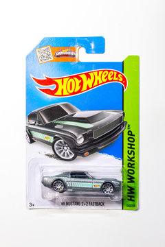 BANGKOK THAILAND - MARCH 11, 2016 : Pack of Hot Wheels die cast carded car model for Hot Wheels series. Hot Wheels is a scale die-cast toy cars by American toy maker Mattel in 1968.