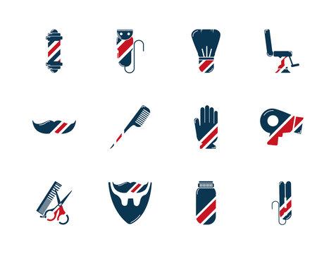 barber shop accessories tools cosmetics icons set