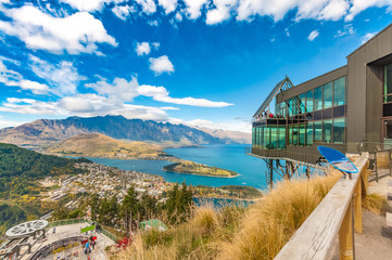 Aluminium Prints New Zealand Cityscape of queenstown with lake Wakatipu from top, new zealand, south island