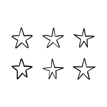 Star doodles collection. Hand drawn stars.